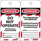 LOTAG43ST250 Polytag National Marker Tags, Lockout, Danger Do Not Operate this Lock/Tag, 6 Inches x 3 Inches, Polytag, Box of 250