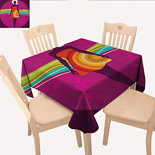 longbuyer Youth Table Cover Young Beauty in an Abstract Dress on Big Pink Dots Wavy Striped Border and Flowers Dinning Table Covers Multicolor W 60
