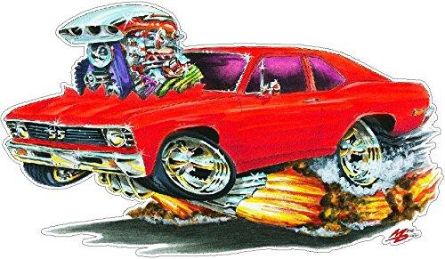 - 1968-1972 Nova FB WALL DECAL 2ft long Vinyl Reusable Movable Fun Stickers for Boys Classic Cartoon Cars Home Decor