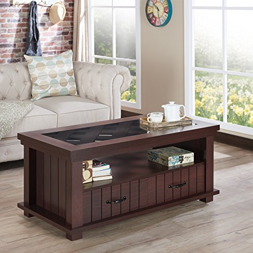 Furniture of America Cresci Rustic Glass Top 2-drawer Espres