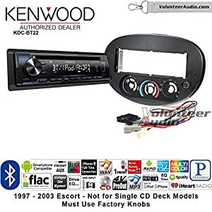 Volunteer Audio Kenwood KDC-BT22 Double Din Radio Install Kit with Bluetooth, Sirius XM Ready Fits 1997-2003 Ford Escort, 1997-1999 Mercury Tracer