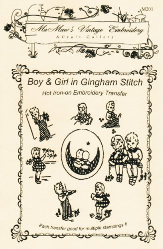 Sweethearts in Gingham Stitch Hot Iron Embroidery Transfers