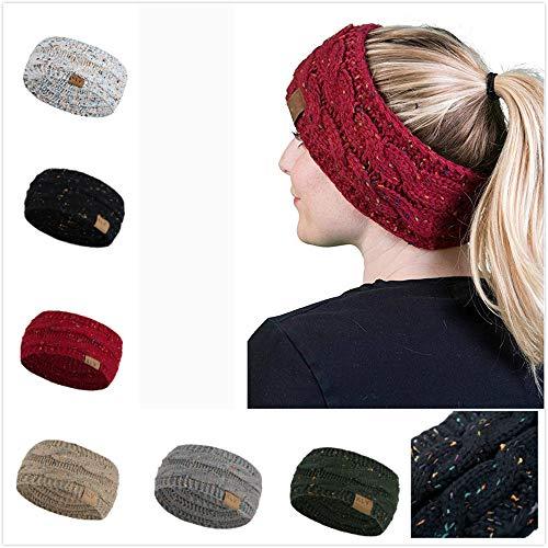 r Men Women Hair Ball Knitting Headband Elastic Handmade Sport Hair Band Turban (Khaki) ()