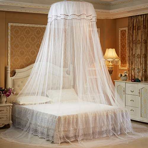 Mosquito Net Dome, Petforu Princess Bed Canopies Netting Elegant Lace with 2 Butterflies for decor - White