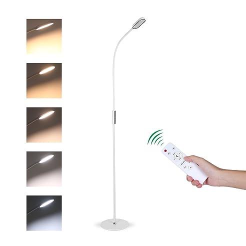 Tonffi Fernbedienung Stehleuchte Dimmbar 9W LED Mit Touch Schalter Schwanenhals 360 Drehbarem 5 Helligkeitsstufen Weiss