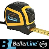 Heavy Duty Measuring Tape by Better Line 25 Feet by 1-inch (7.5 Meter) / Nylon-Bonded Sturdy Matte Blade / Auto-Lock Mechanism / Belt Clip & Strap / Meters & Inches