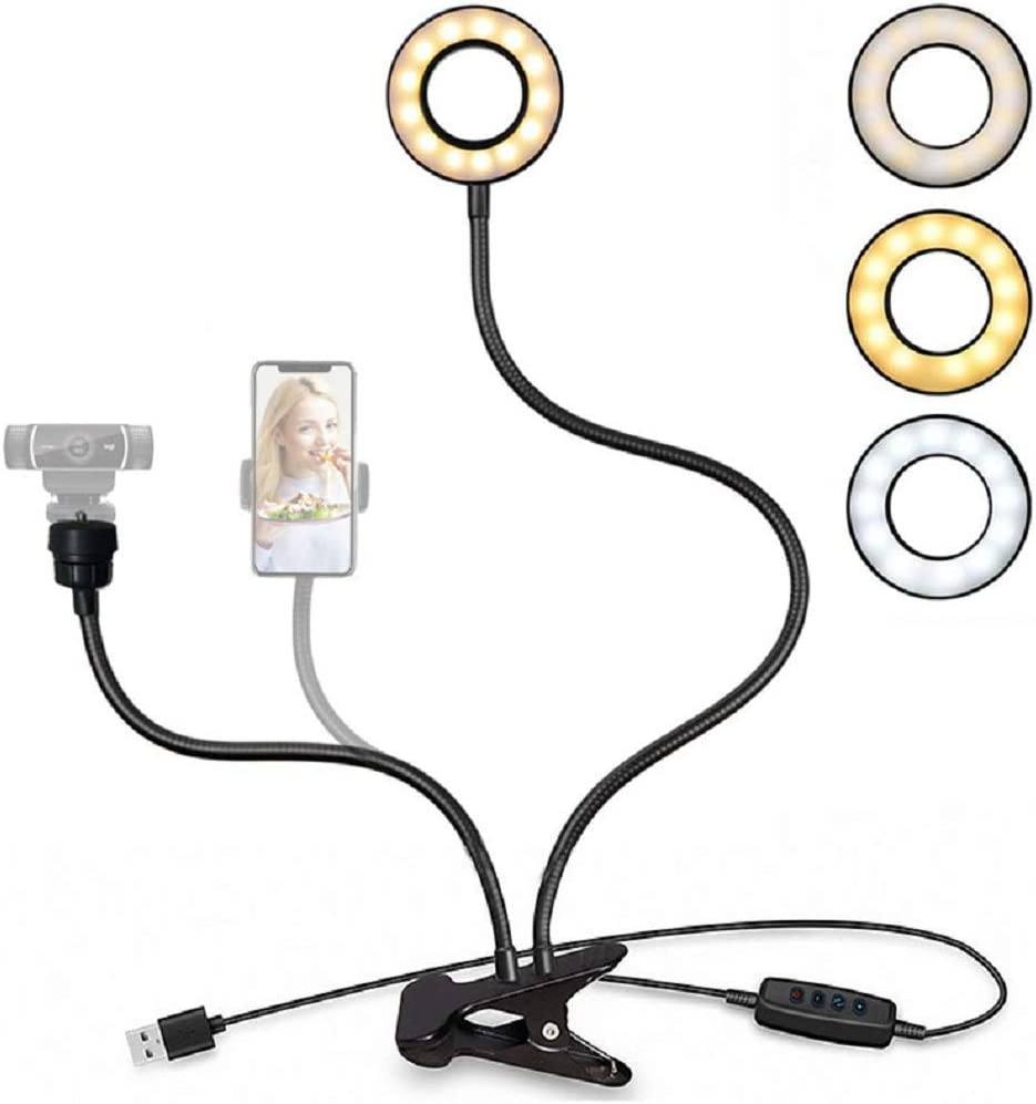 Webcam Light Stand for Live Stream,Upgrade Selfie Ring Light with Webcam & Cell Phone Holder Mount for Live Stream/Makeup/YouTube Video