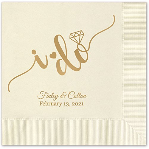 I do Calligraphy Personalized Beverage Cocktail Napkins - 100 Custom Printed Ecru Paper Napkins with choice of (Printed Napkins Cheap)