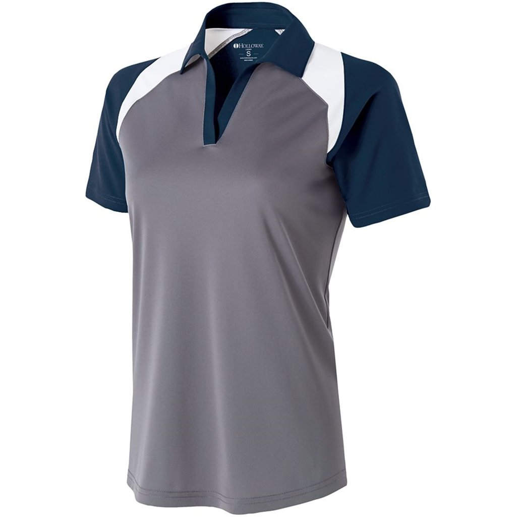 Holloway Ladies Dry Excel Shield Polo (Large, Graphite/Navy/White) by Holloway