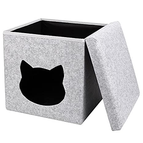 PEDY Cueva para Gatos Nido Plegable para Gatos Cama Foldable de Gatos Fieltro Color Gris: Amazon.es: Productos para mascotas