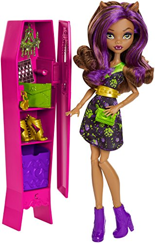 Monster High Ghoul-La-La Locker Vehicle with Clawdeen Wolf Doll]()
