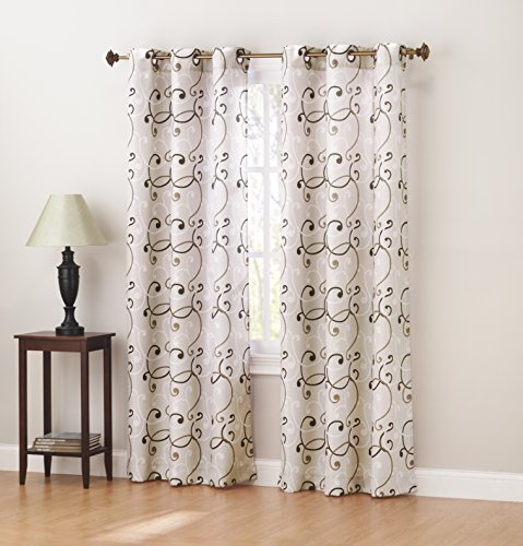 Sun Zero Brice Scroll Print Thermal Lined Curtain Panel, 40″ x 63″, Natural Tan
