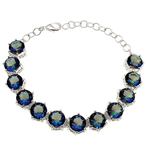 - Hermosa Jewelry Sets Bracelets Earrings Mystic Topaz Silver Ring Size 7 8 9 (Fire Blue Bracelets)