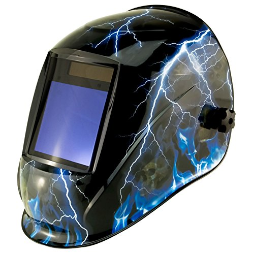 True-Fusion Big-1 Lightning IQ2000 Solar Powered Auto Darkening Welding Helmet Hood Grind mask with Massive View Area (98mm x 87mm - 3.85x3.45 inches) FREE Storage Bag, Spare Lenses and Spare Sweatband included by True-Fusion