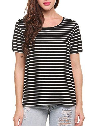 Women's Basic Black Striped T-Shirt - 8