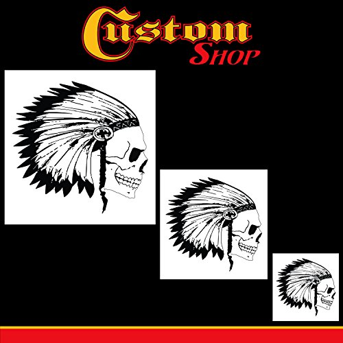 Custom Shop Airbrush Skeleton Skull Indian Chief Stencil Set (Skull Design #12 in 3 Scale Sizes) - Laser Cut Reusable Templates - Auto, Motorcycle Graphic Art Auto Airbrush Stencils