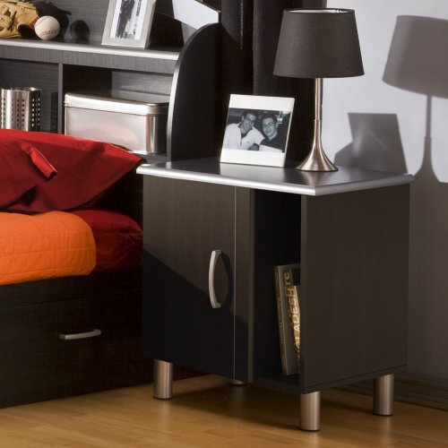 South Shore Night Stand, Cosmos collection, Black Onyx and Charcoal