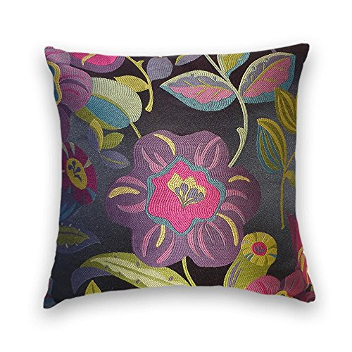 Black Purple Green Floral Decorative Throw Pillow Cover
