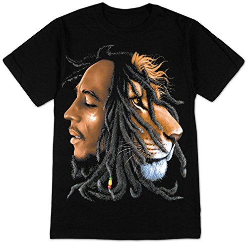 Bob Marley Tee Shirts - Bob Marley Lion Profile Adult T-Shirt XL Black