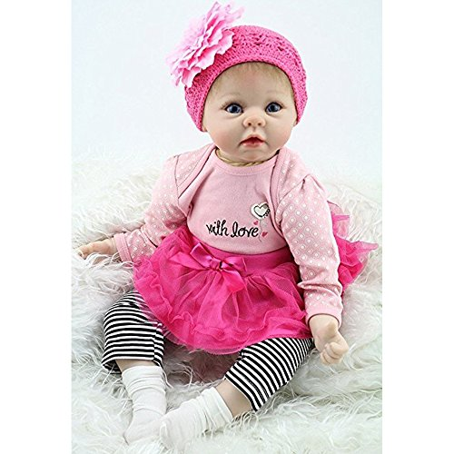 Yesteria 22 Inches Silicone Reborn Baby Dolls Girl Look Real Rose Red Tutu Skirt with Striped Pants by Yesteria (Image #4)
