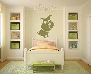Perros bulldog pared dibujos animados arte de pared pegatinas etiqueta 01 - 50cm Altura - 50cm Ancho - Negro Vinilo