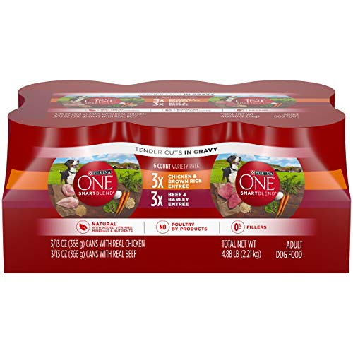 Purina ONE Natural, High Protein Gravy Wet Dog Food Variety Pack, SmartBlend Tender Cuts in Gravy - (2 Packs of 6) 13 oz. Cans (Best Gravy For Pork)