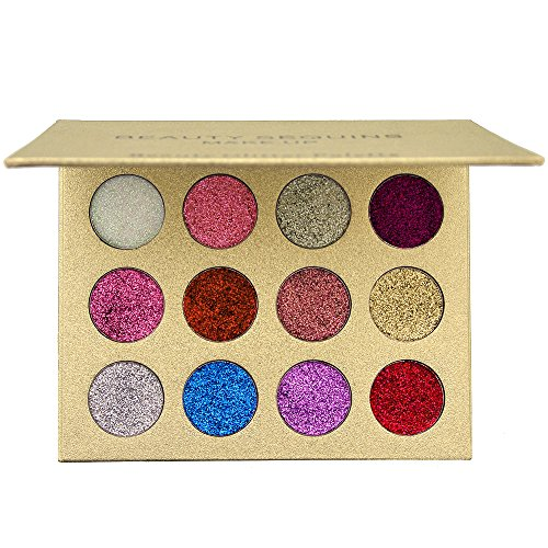 BEAUTY SEQUINS 12 Shades Eyeshadow Palette Shiny and Pigment