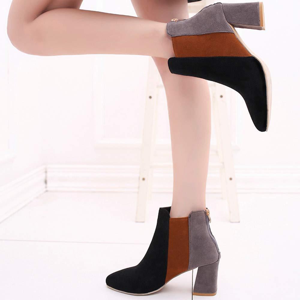 Qiusa damen Spitzschuh Wildleder High Heel Schuhe Mischfarbe Martin  Stiefel Zipper Stiefel (Farbe   Schwarz, Größe  Martin  6.5 UK) f31870
