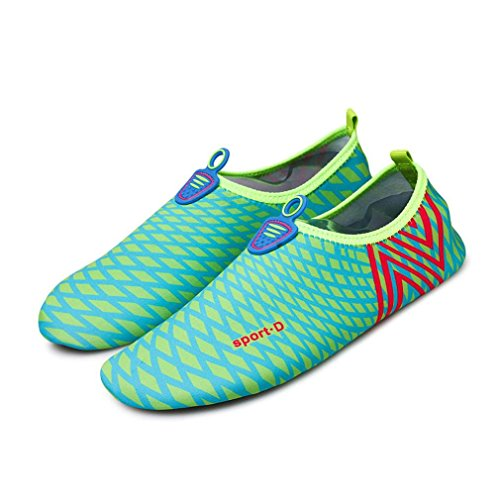 Paymenow Men Women Quick-Dry Water Shoes Barefoot Skin Shoes for Run Dive Surf Swim Beach Yoga Exercise (6.5-7.5, Blue B)