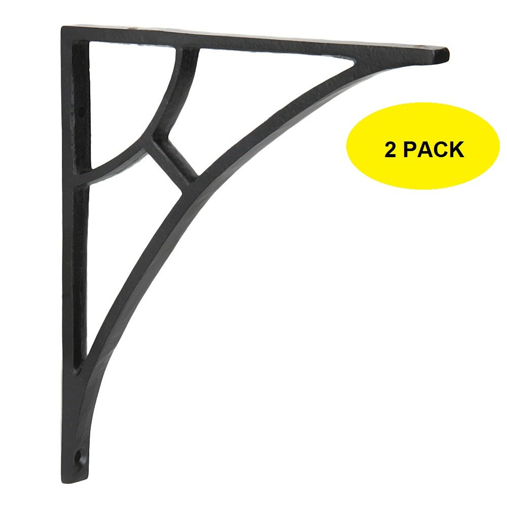 Set of 2 Classic 6 1/2 Inches Iron Shelf Brackets with Black Powder Coat Finish Heavy Duty Adjustable Support Brackets Easy Installation Hardware by A29