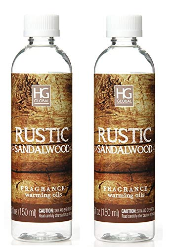 Sandalwood Oil Scented - Hosley Aromatherapy Premium Rustic Sandalwood Scented Warming Oils-Set of 2/6 fl oz ea.Made in USA. Bulk Buy. Ideal Gift for Weddings, spa, Reiki, Meditation, Bathroom Settings W1