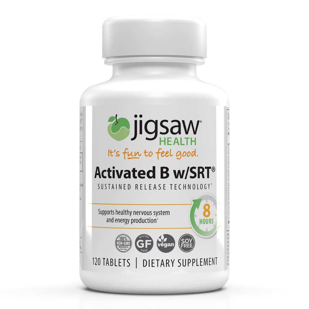 Jigsaw Health Activated B Complex w/SRT - Supports Healthy Energy, Contains B1, B3, B5, B6, B12, and Folate Highly Absorbable - 120 Count by Jigsaw Health