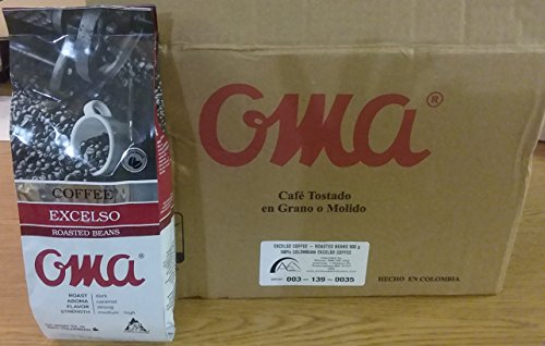 Oma Excelso Roasted Coffee Beans 10 Lb - Box of 10 units 100% Arabica Colombian Coffee Whole BEANS by Oma cafe