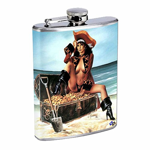 (Sexy Pirate Pin Up Savage Flask S1 Stainless Steel 8oz Hip Silver Alcohol Whiskey Drinking Brandy Rum)