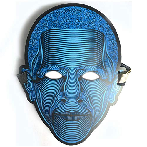 WEIZHUANGZHE Clothing Big Horror Masks Cold Light Helmet Halloween Festival Party Glowing Dance Steady Voice-Activated Music Mask,1style