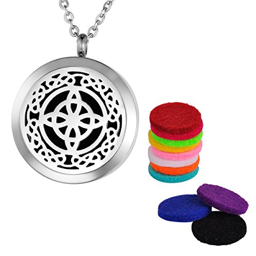 VALYRIA Silver Celtic Knot Essential Oil Diffuser Necklace Young Living Doterra Aromatherapy