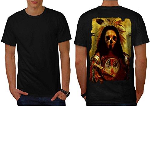 [Skull Indian Soldier Costume Men NEW S T-shirt Back | Wellcoda] (Pregnant Basketball Costume)