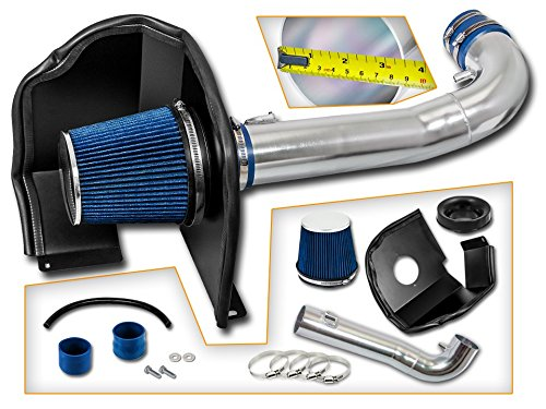 Cold Air Intake System with Heat Shield Kit + Filter Combo BLUE Compatible For 14-17 Chevy Silverado 1500 / GMC Sierra 1500 4.3L V6 ()