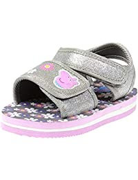 Kids Toddler Girls Pink Glitter Slip On Sandals with Hook Ankle Strap