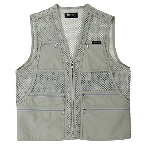 myglory77mall Men's Multi Pockets Fly Fishing Hunting Mesh Vest Outdoor Jacket M US(XL tag Asian) Beige