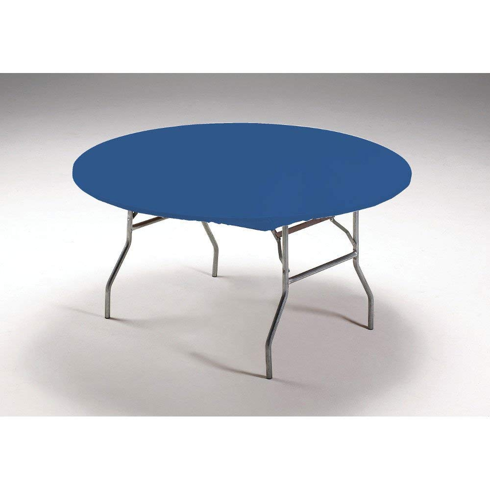 Creative Converting Round Stay Put Plastic Table Cover, 60-Inch, Royal Blue, 12 Packs