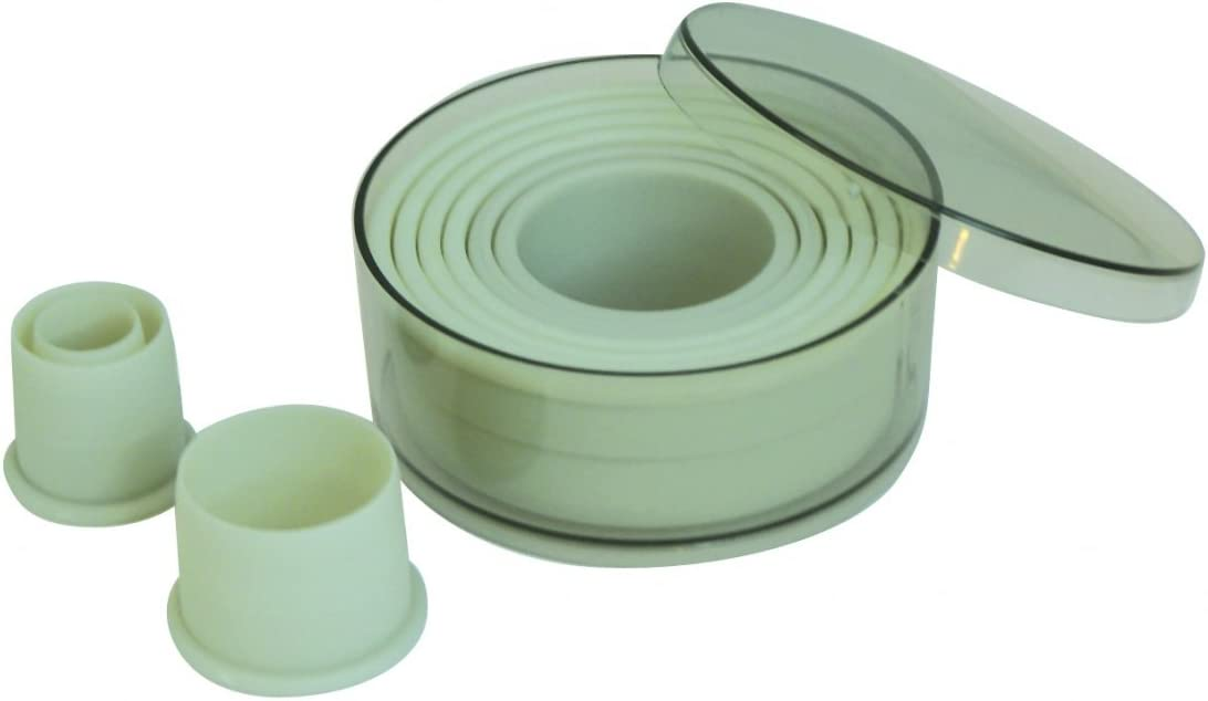 de Buyer 4308.00 Box of 9 Removable Round Plain Cookie Cutters-Plastic-Diamet...