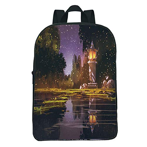 iPrint Comfortable Mini Black knapsack,Landscape,Idyllic Scenery at Night with a Stone Lantern Fireflies and Forest Trees Swamp,Multicolor,for Boys,Personalized Design.11.8