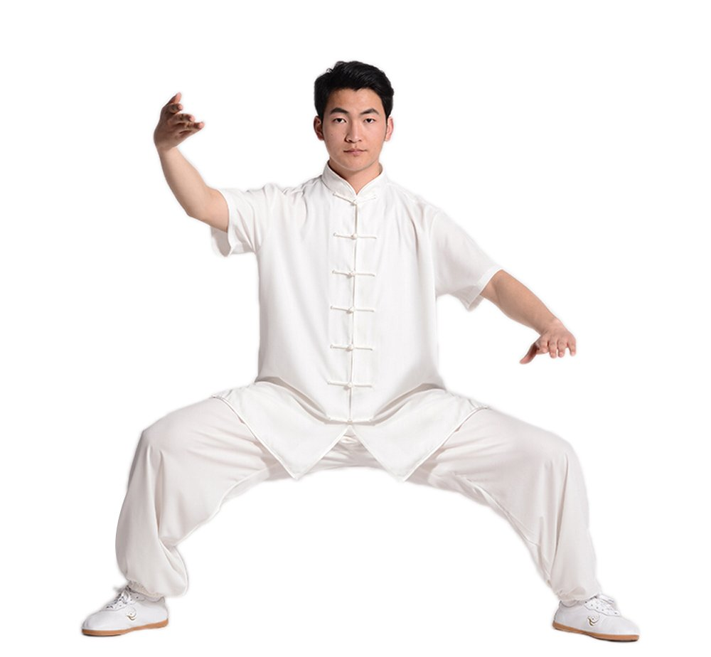 ZooBoo Unisex Short Sleeve Taichi Uniform Summer Kungfu Clothing Cotton Blend Martial Art Sets (L, White) by ZooBoo