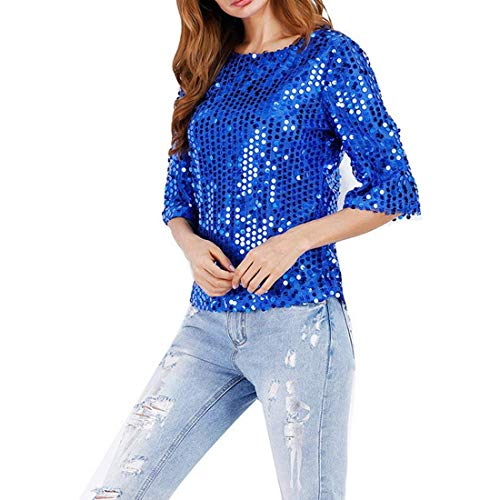 4 fashion Casual Mode HX Femme Shirts Jeune Rond Elgante Manches Et Party Mode Paillettes Confortable Shirt Vetement 3 T Tshirts Basic Col Rose Haut d4qqv