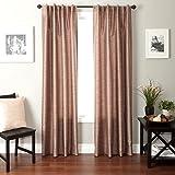 Cheap Softline Home Fashions Bergamo Faux Silk Back Tab Window Panel/Curtain/Sheer/Drape, Mocha, 55″ by 84″