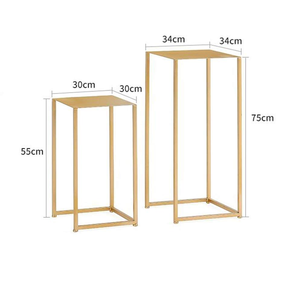 gold 55cm+75cm Tingting Side Table Metal Square Side Table Laptop End Side Sofa Nesting Space Saving Display Stand High Foot for Bedroom Living Room (color   gold, Size   75cm)