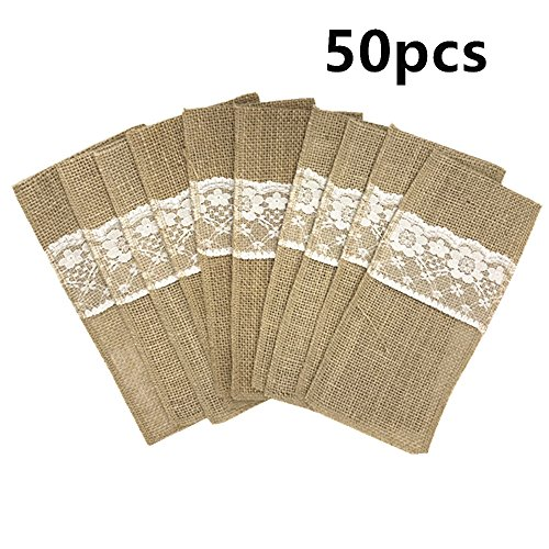 4 x 8 Inch Burlap Lace Cutlery Bags Hessian Knife Fork decor for Rustic Wedding and Parties Table Decor (50) -