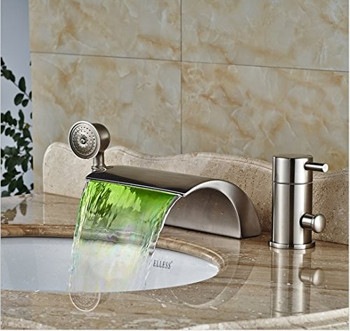 GOWE Luxury Deck Mount Color Changing LED Waterfall Tub Faucet Single Handle Brass Bathroom Bathtub Mixers (Hot Tubs Waterfall)