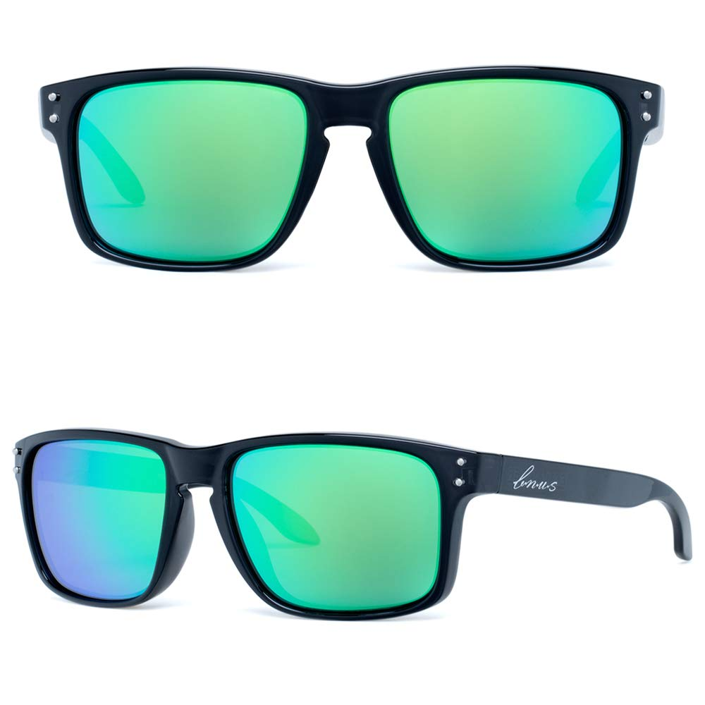 Bnus italy made corning real glass green mirrored lens classic sunglasses for women boys girls shades (Black/Green Flash Polarized 53mm(S), Never Scratch Mirror Coating)